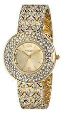 NEW Vernier VNRP11185YG Women's Triple Row Crystal Bezel and Bracelet Gold Watch