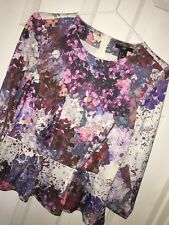 Womens H&M Colourful Floral Tailored Peplum Blouse Sz 8 EXC