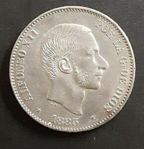 1885 Spain/Philippines 50 Centimos  KM#150 Au  Silver