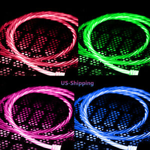 LED Light Flowing Charger Micro USB C Glow Cable Charging For Samsung S10 S9 S7