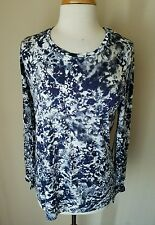 Simply Vera Wang Long Sleeve Weekend Purple Floral Scoop Neck Tee Knit Top XL
