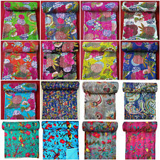 Indian 100%Cotton Kantha Quilt King/Twin Size Bedspread Blanket Decor Throw