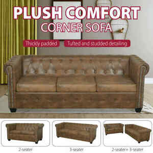 vidaXL Chesterfield 2-Seater and 3-Seater Sofa Set Brown Chaise Lounge Couch