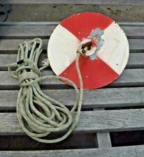 Vintage 95 In Metal Secchi Disk With Round Lead Ball Weight And Line