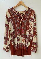 Anthropologie TINY designer brand paisley print burgundy rayon top size XL
