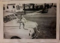 Vintage Old 1940's Photo of Child Toddler Balancing on Hood of Old Car 💥