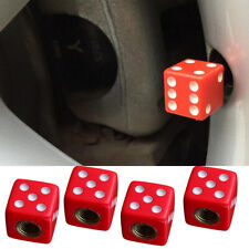 4pcs Red Dice Car Truck Bike Tire Air Valve Stem Cover Caps Wheel Stems Decor
