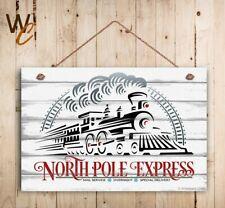 "Christmas Sign, 8"" x 12""  Holiday Sign, North Pole Express Train, Holiday Decor"