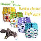 Happy Flute 1 pcs bamboo charcoal heavy wetter night AIO baby cloth diaper nappy