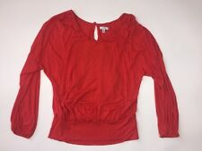 CACHE Women's Size XS Red Dressy Billowy Career Work Long Sleeved Top Shirt