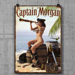 Captain Morgan Vintage Metal Tin Plaque Signs Man Cave Pub Club Cafe TIKI BAR