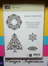 Stampin Up BRIGHT HOPES Clear Mount Stamps Swirled Christmas Tree Snowflakes