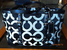 Cleaned Coach 19404M OP Art Sateen Gallery Signature Tote Holiday Winter Summer