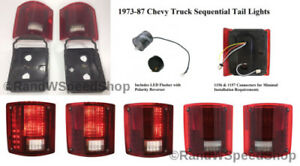 (2) Chevrolet LED Sequential Tail Lights 1973-87 Pickup Truck Brake Lamp Flasher