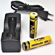 8 x M2 TEC 18650 / 3,7 V / 8800 mAh / 11,8 Wh Lithium Ionen Akku + Ladegerät TOP