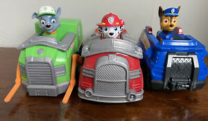 Paw Patrol Toy Figure Vehicle Bundle Rocky Chase Marshall fire engine police