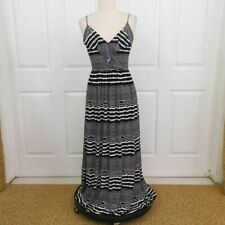 3464601b9492 Betsey Johnson MAXI Dress LONG Women's Size 8 Black & White Spagetti Strap  NICE
