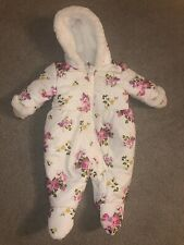 Rothschilds baby Girl Floral Zip-up Hooded 3-6 Months Infant Snow Suit