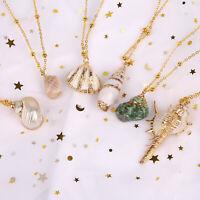 BOHO Women Conch Seashell Beach Necklace Gold Choker Chain Pendant Jewelry-WI