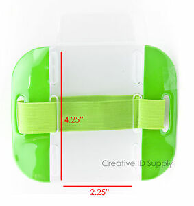 High Quality Reflective Arm Band Photo ID Badge Holder Vertical w/ Elastic Band