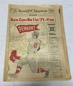 April 6, 1971 Record American Newspaper Red Sox Souvenir Edition---Yaz  Good