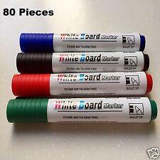 80 PC Whiteboard Markers Dry Erase Black Red Green Blue Bullet Tip Bullet Tip