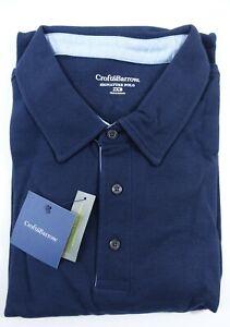 Men Signature Polo Shirt 3xlt Big and Tall Long Sleeves Navy Blue