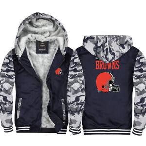 Cleveland Browns Hoodie Fleece Zip Up Coat Winter Jacket Warm Sweatshirt Gifts