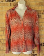 Milano Womens Blouse Size 2X Orange Multi Color Button Up Pleated Long Sleeve A2