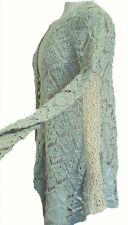 ZARA Woman KNIT Knitted PALE GREEN CREAM Waterfall Lace Cardigan UK M £39.99
