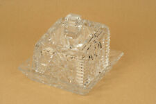 More details for square cut glass lead crystal butter dish