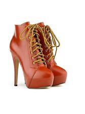 Mujer señoras de cuero PU Marrón Sexy Tacón Stiletto Botas al tobillo con cordones UK 6
