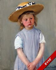 YOUNG GIRL CHILD WITH A STRAW HAT PAINTING BT MARY CASSATT ART REAL CANVAS PRINT