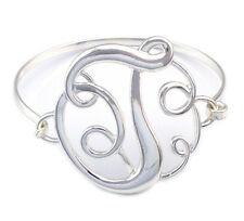 Monogram Style English Alphabet Letter Initial T Bangle Bracelet Women Jewelry