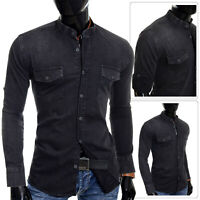 Men's Denim Black Jean Shirt Grandad Collar UK Slim Fit Front Pockets Roll Up