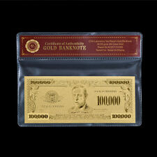 WR US $100000 Gold Banknote Dollar Bill In COA Sleeve World Banknote Collection