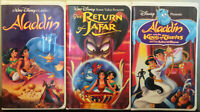 "Lot Of 3 Disney Clamshell VHS ""Aladdin / The Return Of Jafar / King Of Thieves"""