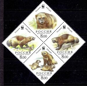 Russia 2004 WWF Wolverine/Skunk Bear Wildlife Nature Protected Animals 4v MNH