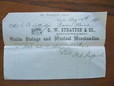 "New listing 1875 Fancy ""Violin Strings & Musical"" G.W. Stratton,(Price) Boston Letterhead!"