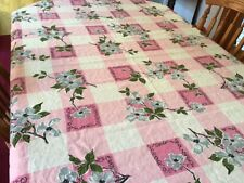 "Vintage Mid-Century Floral Print Cotton Tablecloth 62"" x 49"" Nice & Clean!"