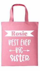 Personalised NEW BIG SISTER GIFT BAG  - short handle 100% cotton tote Bag
