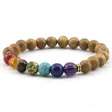 7 Chakra Healing Balance Wooded Beaded Yoga Reiki Buddha Prayer Bracelet