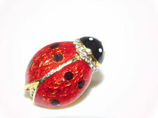 Cute Red Enamel Ladybug Beetle Insect Rhinestone Gold tone Lapel Pin 5h 28