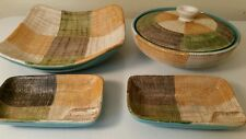 Vtg Plaid Pottery (5pcs) * Mid Century Coffe Table Set * Italy * Studio * Signed