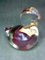 STUDIO GLASS PAPERWEIGHT HANDMADE  BIRD red gold