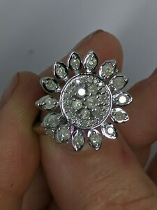 Silver Diamond Ring 1.00ct genuine natural diamonds Size K Sterling 925 100pts.