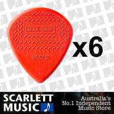 6 x Jim Dunlop Max Grip Jazz 3 Red Nylon Gauge Guitar Picks *NEW* Jazz III