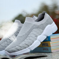 Mens Lightweight Walking Shoes Sport Mesh Breathable Tennis Slip on Gym Sneakers