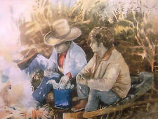 1981 BARBARA BLEE CARLYLE LISTED WATERCOLOR WESTERN COWBOW CONVERSATION