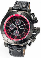 Mens Watch Big Face Black Leather Multifunction Large Dial Day Date Oversized